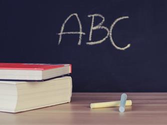 ABC written on a chalk board